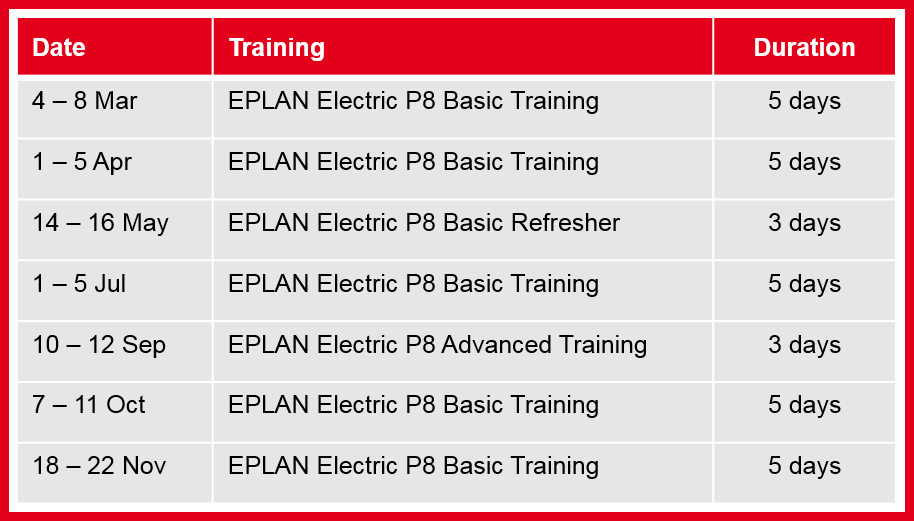 EPLAN Electric P8 Group Training Schedule 2019
